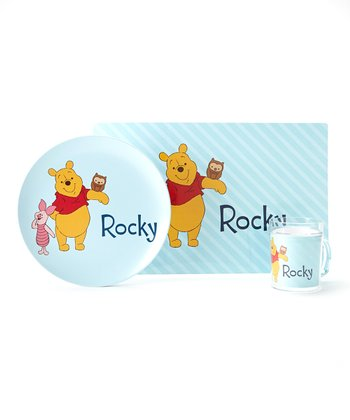 Blue Winnie the Pooh Personalized Tableware Set