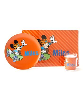 Orange Mickey Mouse Personalized Tableware Set