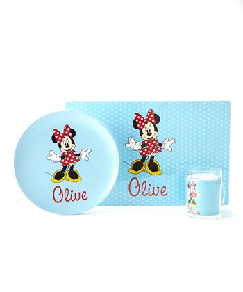 Blue Minnie Mouse Personalized Tableware Set