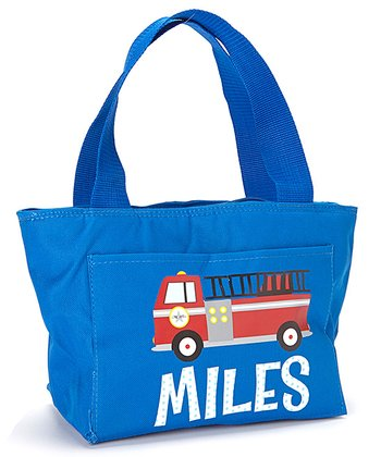 Red Fire Truck Personalized Insulated Tote