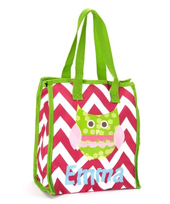 Pink & Green Owl Personalized Insulated Tote