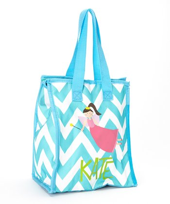 Turquoise & Pink Fairy Personalized Insulated Tote