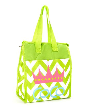 Lime & Pink Crown Personalized Insulated Tote