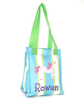 Green & Pink Unicorn Personalized Insulated Tote