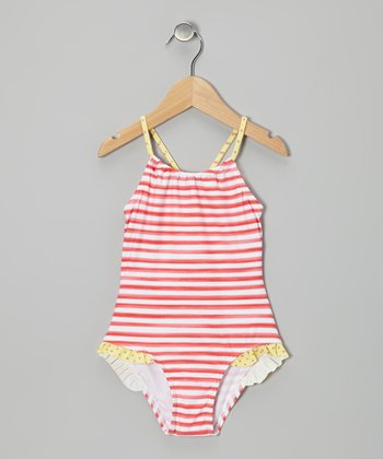 Coral Stripe One-Piece - Girls