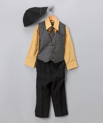 Black & Mustard Pants Set - Infant & Boys