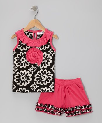 Black & Pink Blossom Tank & Shorts - Toddler & Girls
