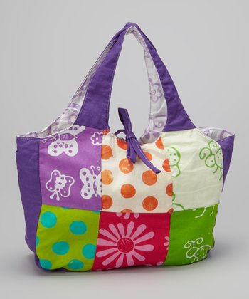 Purple & Green Patchwork Tote Bag
