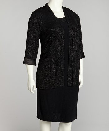 Black Glitter Dress and Jacket - Plus