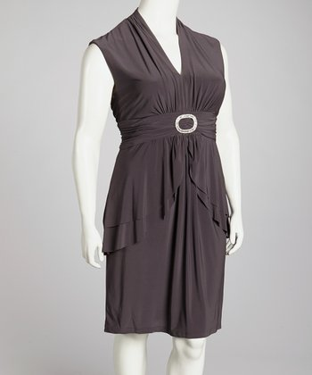 Mocha Peplum Dress - Plus