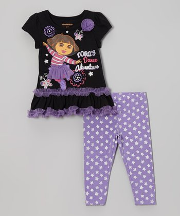 Black 'Dora's Dance Adventure' Tunic & Star Leggings - Infant