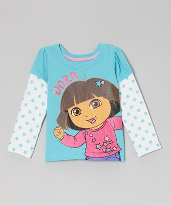 Blue 'Dora' Star Layered Long-Sleeve Tee - Toddler