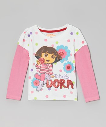 White & Pink 'Totally Dora' Layered Long-Sleeve Tee - Toddler