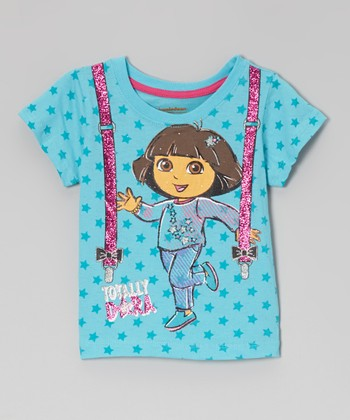 Blue & Pink 'Totally Dora' Short-Sleeve Tee - Toddler