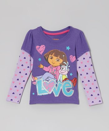 Purple 'Love' Heart Layered Long-Sleeve Tee - Toddler