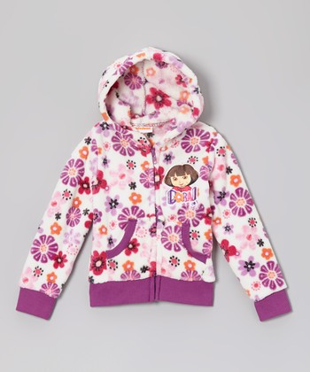 Purple 'Dora!' Flower Fleece Zip-Up Hoodie - Girls