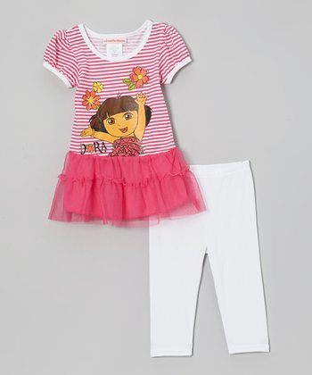 Pink Stripe 'Dora' Ruffle Dress & White Pants - Infant, Toddler & Girls