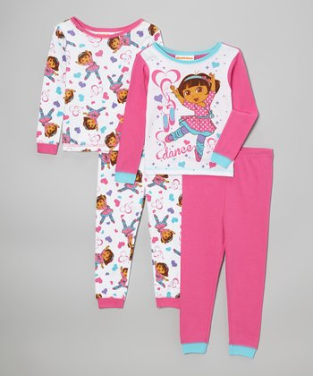 Pink & White Dora the Explorer 'Dance' Pajamas Set - Toddler