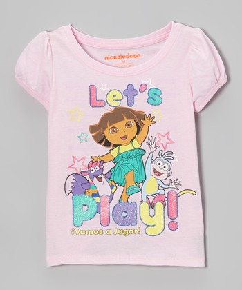 "Light Pink ""Let's Play! Vamos A Jugar!"" Puff-Sleeve Tee - Toddler"