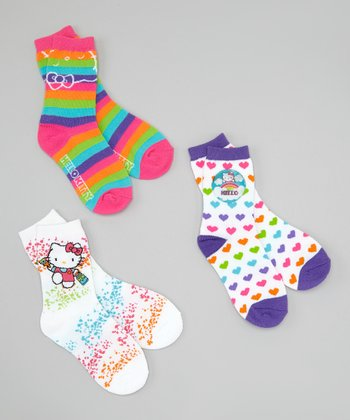 Purple Hologram Hello Kitty Socks Set