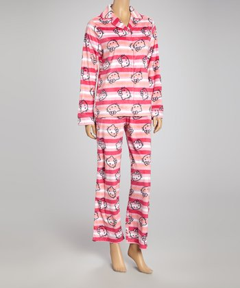 Orange & Pink Polar Fleece Notch Collar Pajamas - Women