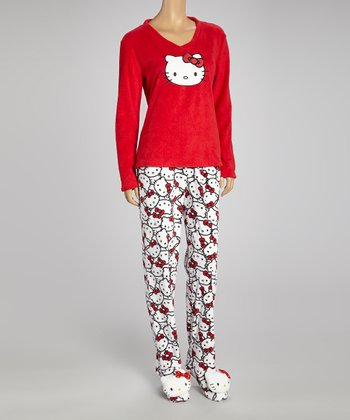 Red Hello Kitty Footie Pajamas - Women