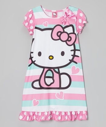 Aqua Stripe Hello Kitty Nightgown - Girls