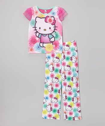 Purple & Aqua Hello Kitty Pajama Set - Girls