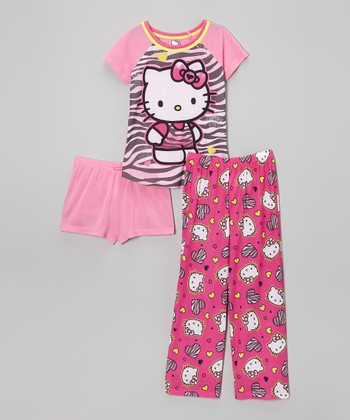 Pink Zebra Hello Kitty Pajama Set - Girls