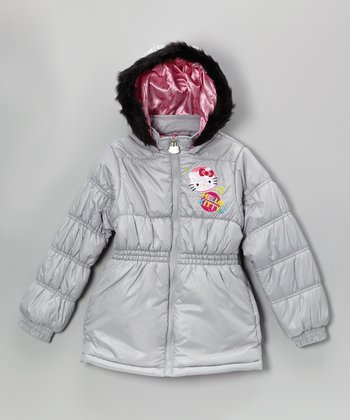 Gray Hello Kitty Puffer Coat - Girls