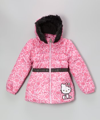 Pink Heart Hello Kitty Puffer Coat - Girls