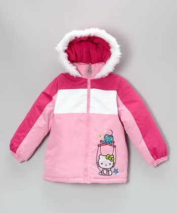 Pink Mouse & Hello Kitty Puffer Coat - Girls