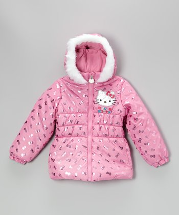 Pink Metallic Bow & Hello Kitty Puffer Coat – Girls