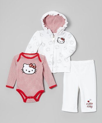 Bright White Hello Kitty Velour Zip-Up Hoodie Set - Infant