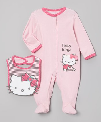 Pink Hello Kitty Footie & Bib - Infant