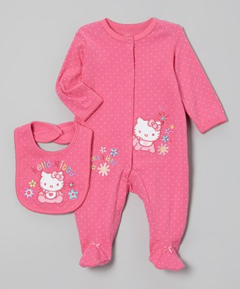 Dark Pink Hello Kitty Polka-Dot Footie & Bib - Infant