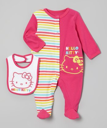 Dark Pink Two-Tone Hello Kitty Footie & Bib - Infant