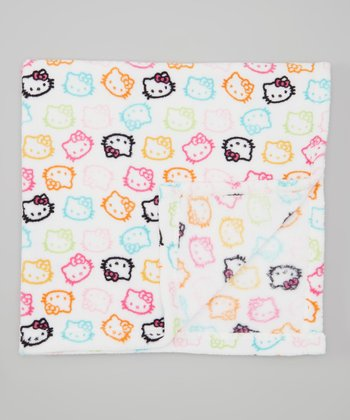 Rainbow Hello Kitty Plush Stroller Blanket