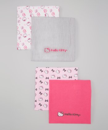 Dark Pink Hello Kitty Bows & Hearts Blanket - Set of Four