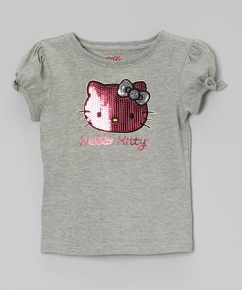 Heather Gray 'Hello Kitty' Keyhole Sleeve Tee - Toddler & Girls