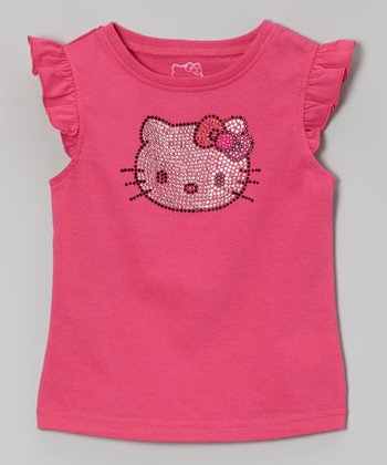 Fuchsia Hello Kitty Angel-Sleeve Tee - Toddler & Girls
