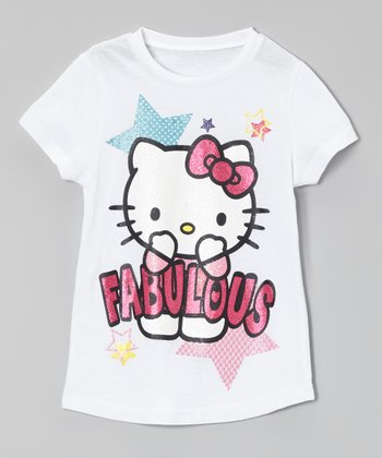 Bright White 'Fabulous' Hello Kitty Glitter Tee - Toddler & Girls