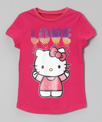 Fuchsia 'Love' Hello Kitty Glitter Tee - Toddler