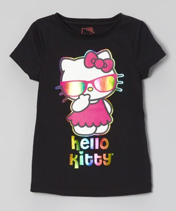 Anthracite & Rainbow 'Hello Kitty' Foil Tee - Toddler & Girls