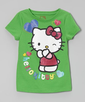 Classic Green 'Hello Kitty' Glitter Tee - Toddler & Girls