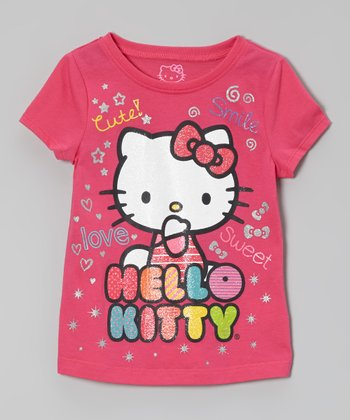 Fuchsia 'Cute, Smile, Love' Hello Kitty Glitter Tee - Girls