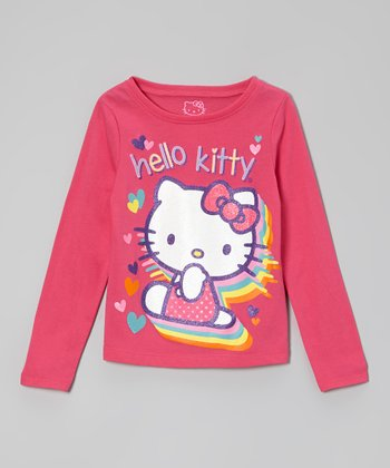 Fuchsia 'Hello Kitty' Glitter Tee - Girls