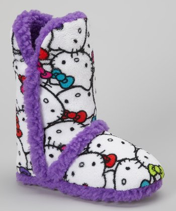Purple & White Hello Kitty Boot Slipper - Kids