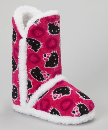 Black & Pink Heart Dot Hello Kitty Boot Slipper - Kids
