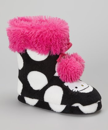 Black & Pink Polka Dot Hello Kitty Boot Slipper - Kids